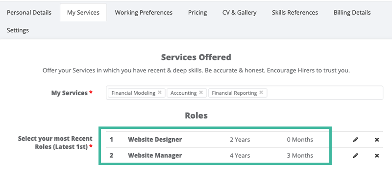Most Recent Roles - My Services - Nomad Now